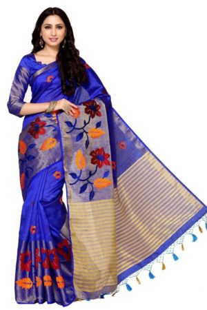 MIMOSA Flower Design Hand Embroidery Work Tussar Silk Saree with Blouse in Color Royal Blue (4094-2124-adl-emb-rblu) - mimosaindia