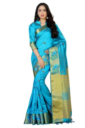 MIMOSA Peacock Design Hand Embroidery Work Tussar Silk Saree with Blouse in Color Ananda/Turquoise (4058-2085-am-and) - mimosaindia