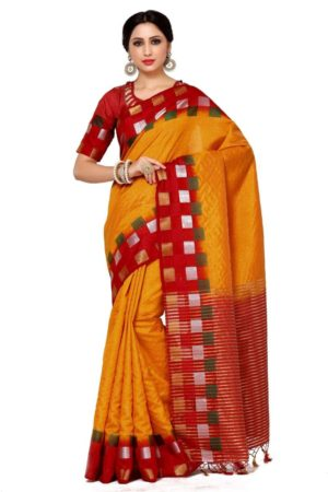 MIMOSA Multicolor Square Design Border Tussar Silk Saree with Blouse in Color Maroon (4044-216-2d-gld-mrn) - mimosaindia