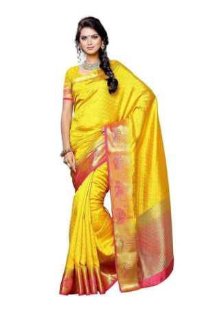 Mimosa tussar silk saree with unstiched blouse - gold