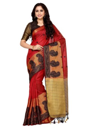 MIMOSA Motif Design Hand Embroidery Work Tussar Silk Saree with Blouse in Color Maroon (4096-2124-bl-mrn) - mimosaindia