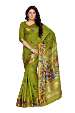 MIMOSA Hand Embroidery Work All Over Tussar Silk Kanjivaram Style Saree with Blouse in Color Olive (4124-2085-am-10-olv) - mimosaindia