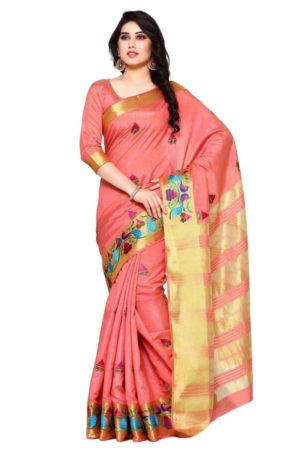 MIMOSA Multi Design Hand Embroidery Work Tussar Silk Kanchipuram Style Saree with Blouse in Color Coral /Peach (4097-2085-am-7-mob) - mimosaindia