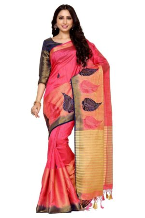 MIMOSA Leaf Design Hand Embroidery Work Tussar Silk Saree with Blouse in Color Strawberry (4095-2124-adl-emb-strw-nvy) - mimosaindia