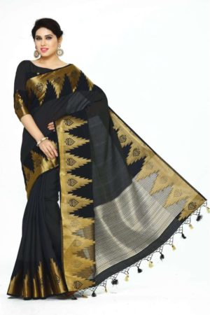 MIMOSA Latest Design Tussar Silk Banarasi Style Saree with Blouse in Color Black (4072-273-BLK) - mimosaindia