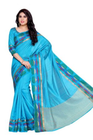 MIMOSA Multicolor Kalash Design Border Tussar Silk Kanchipuram Style Saree with Blouse in Color Sky Blue (4146-219-and) - mimosaindia