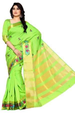 MIMOSA Multi Design Hand Embroidery Work Tussar Silk Kanchipuram Style Saree with Blouse in Color Lime Green (4098-2085-am-9-lrl) - mimosaindia