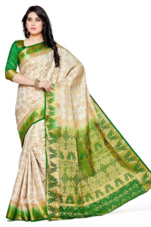MIMOSA Peacock Design Border Tussar Silk Patola Kanjivaram Style Saree with Blouse in Color Off White (4101-2149-2d-hwt-grn) - mimosaindia